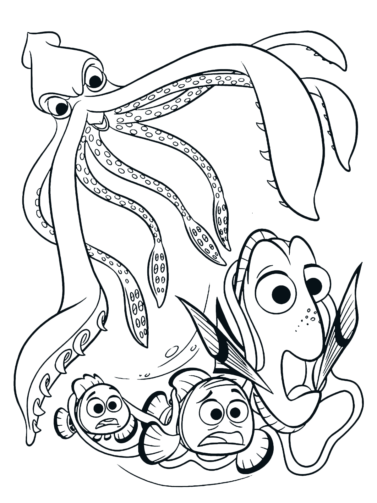 Finding Dory Coloring Page Dory Marlin And Nemo Are Attacked By A Giant Squid Nemo Coloring Pages Finding Nemo Coloring Pages Cartoon Coloring Pages