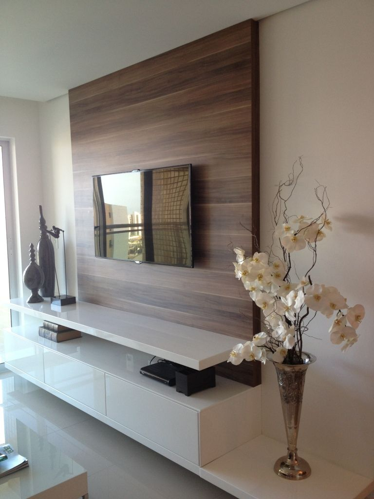 Living Room Minimalist TV Unit In White And Walnut