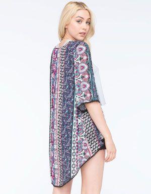 FULL TILT Pom Trim Womens Kimono