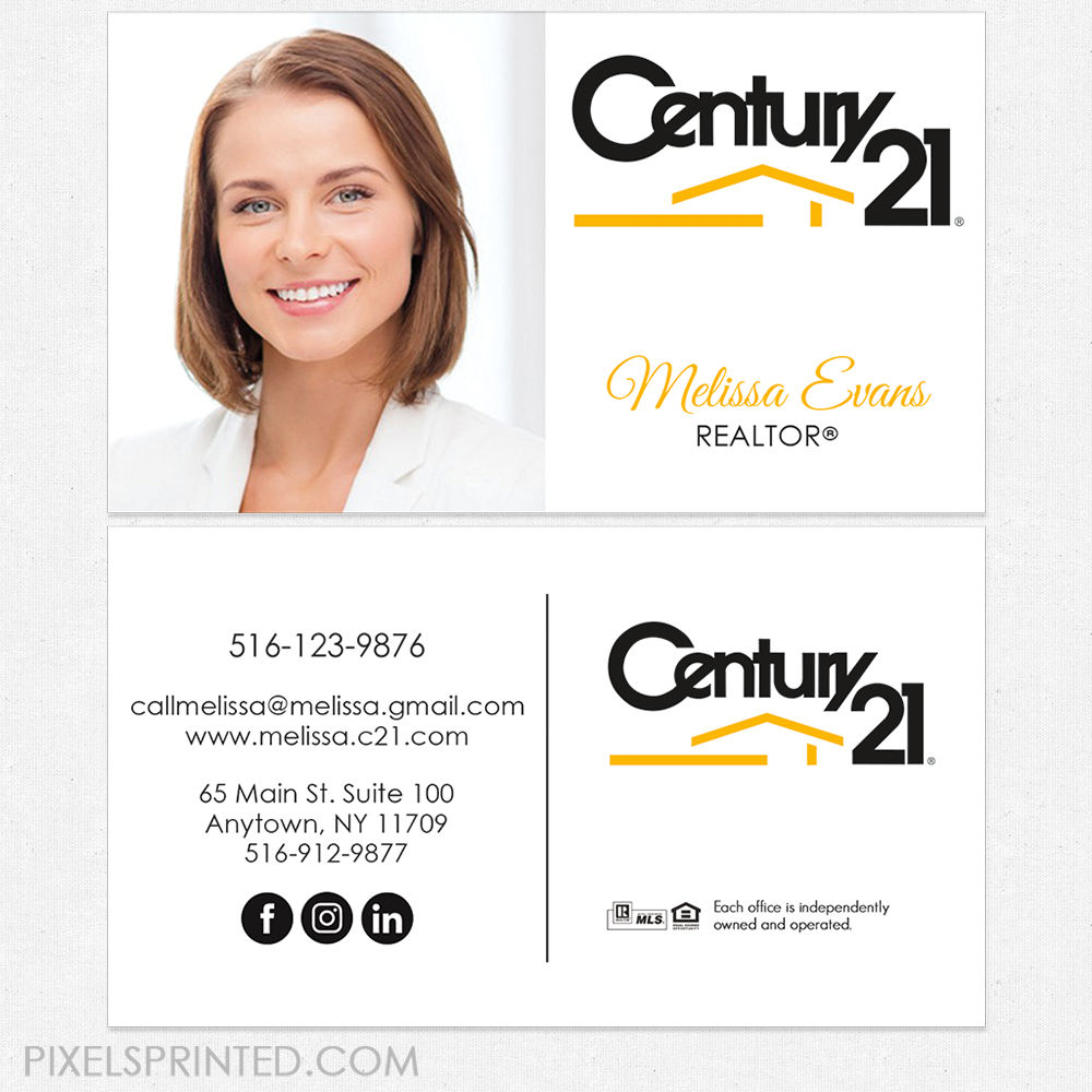 Century 21 business cards, Century 21 cards, realtor business ...