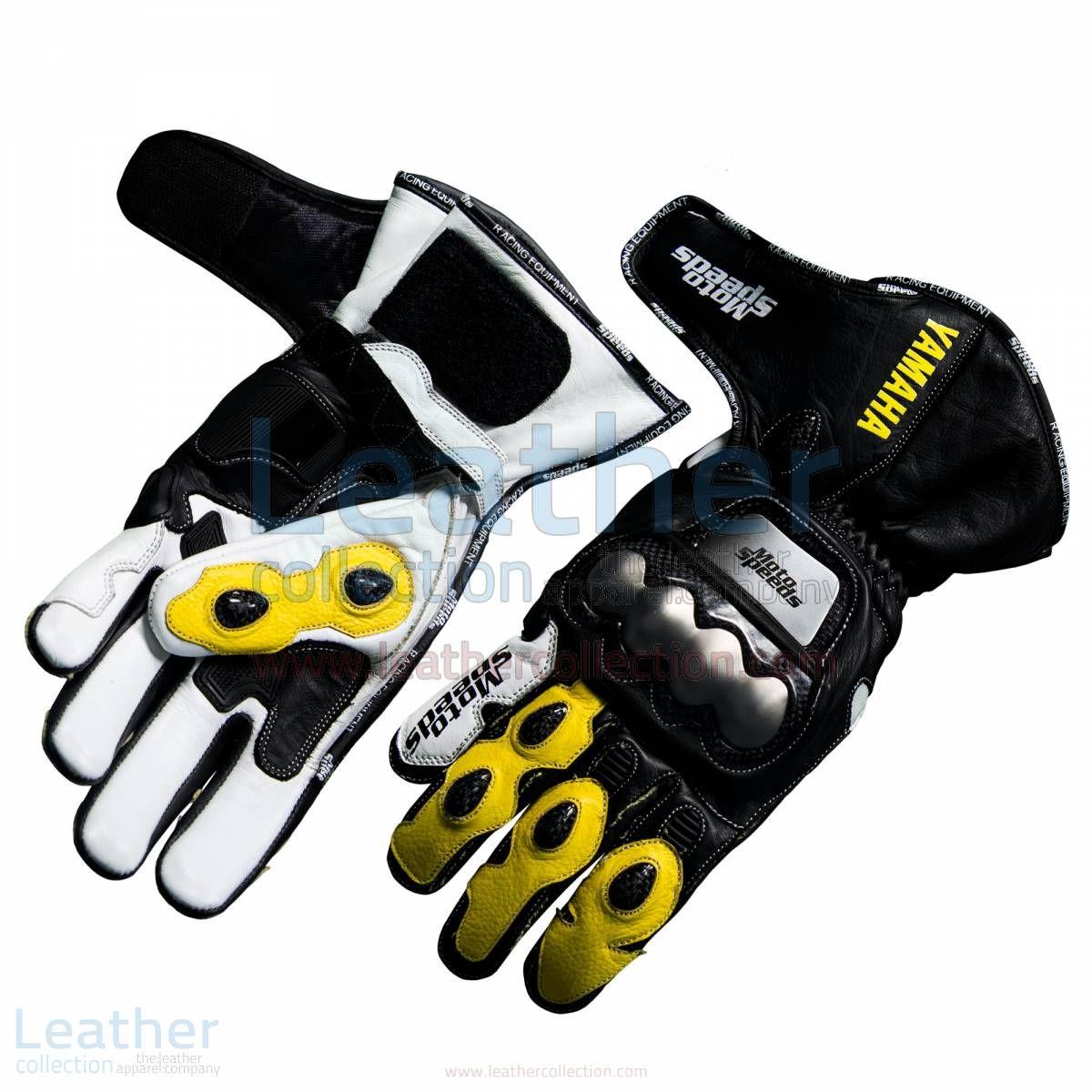 Yamaha Racing Leather Motorcycle Gloves Yellow Motorrad