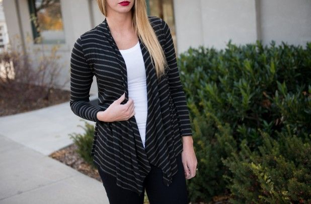 Carol Striped Open Cardigan 62% off at Groopdealz