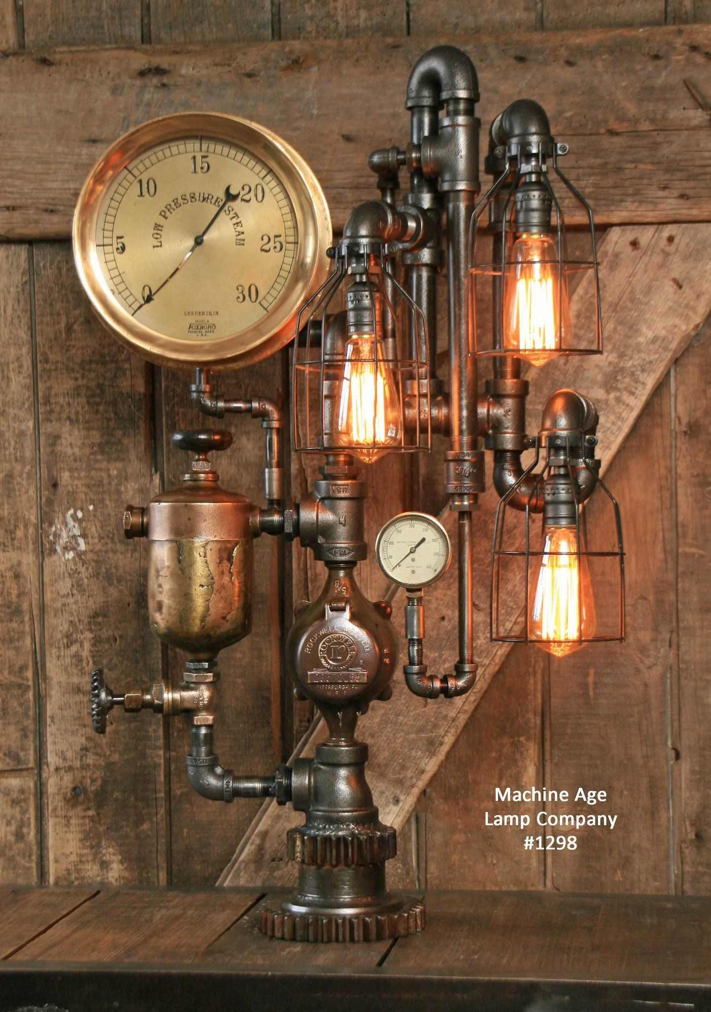 Steampunk Industrial Lamp Antique Brass Oiler and Steam