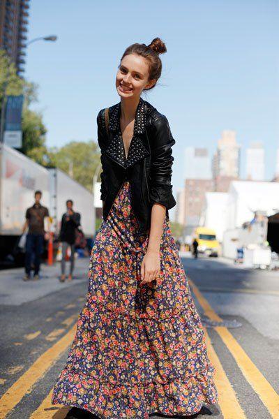 Maxi dress + leather jacket