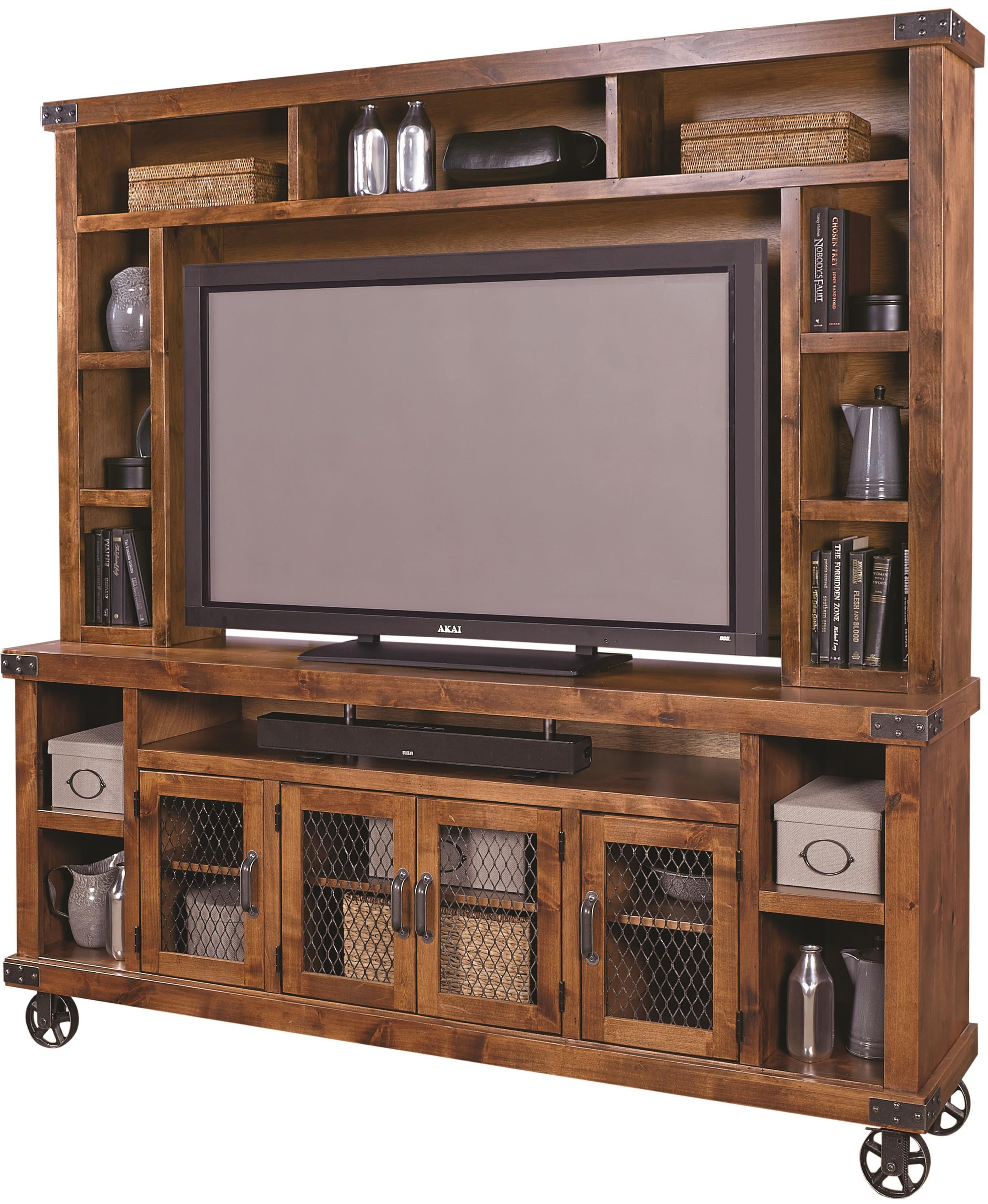 trinell brown entertainment wall on industrial 84 entertainment unit with soundbar compartment by aspenhome at darvin furniture home entertainment furniture entertainment unit entertainment wall industrial 84 entertainment unit with
