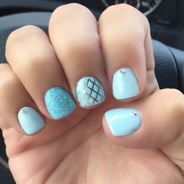 Blue Gel Nail Designs: Baby Blue Nails. Gel Manicure Glitter And Nail Stamping
