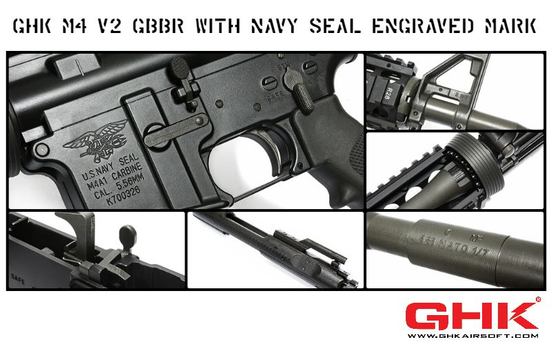 GHK M4 V2 GBBR with NAVY SEAL Engraved Mark | airsoft | Navy