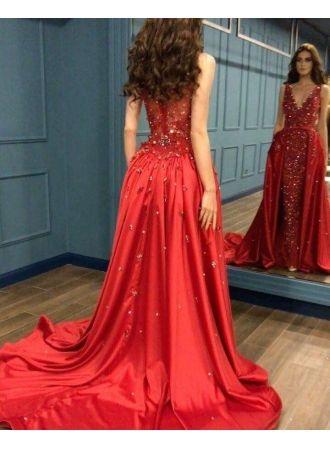 rotes abendkleid lang günstig  rote kleider mit spitze modellnummer xy453bc0423  abendkleid