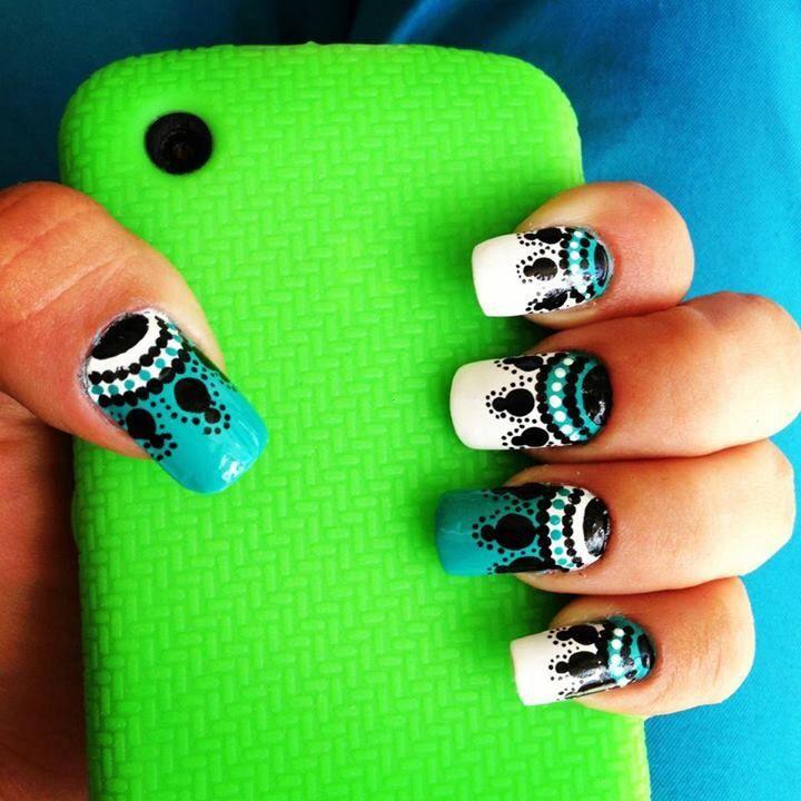 Azules y blanco | manicure | Pinterest | Azul, Blanco y Diseños de uñas