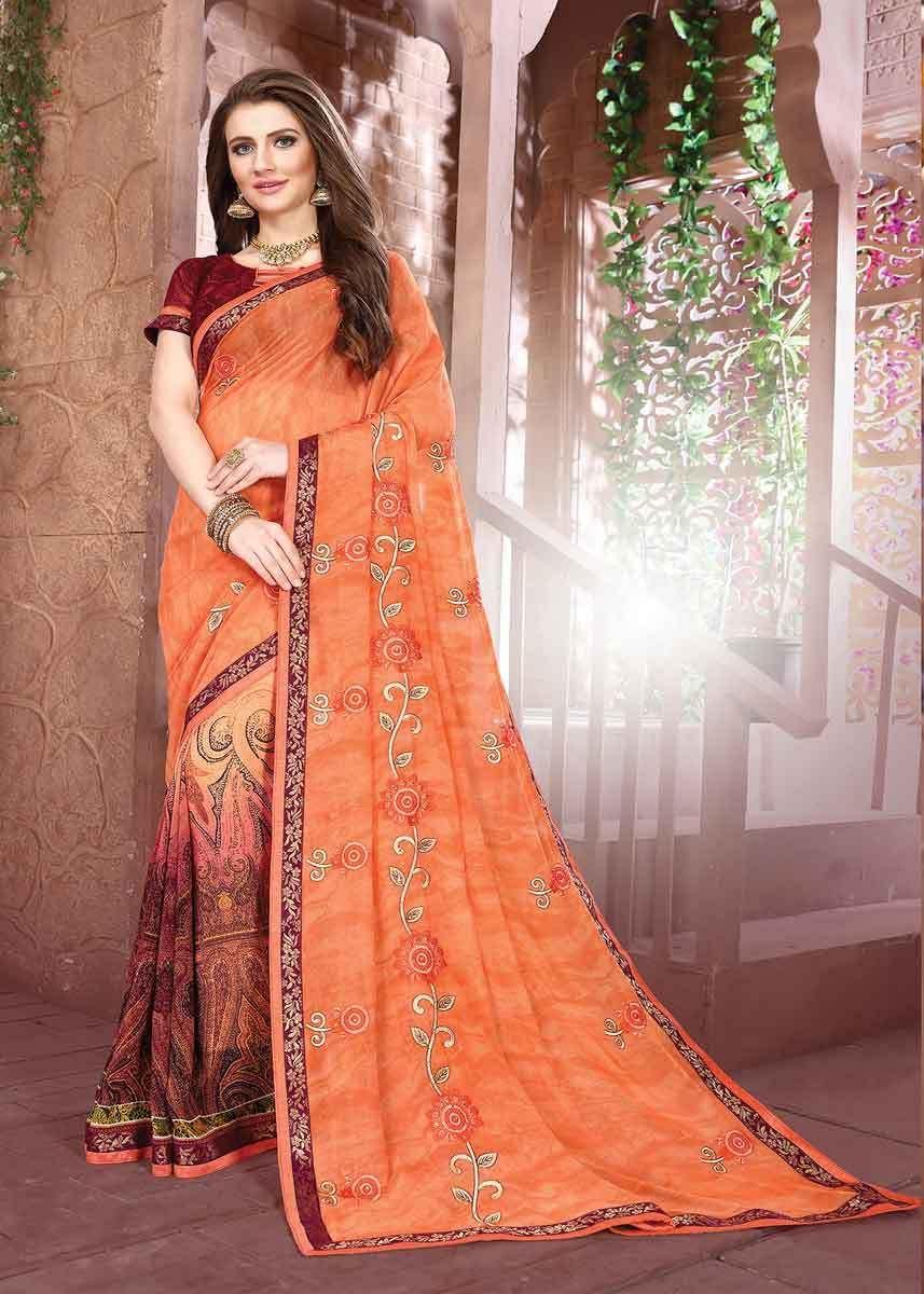 082285bc4a Designer Orange Color Floral Design Georgette Saree in 2019 | Casual ...