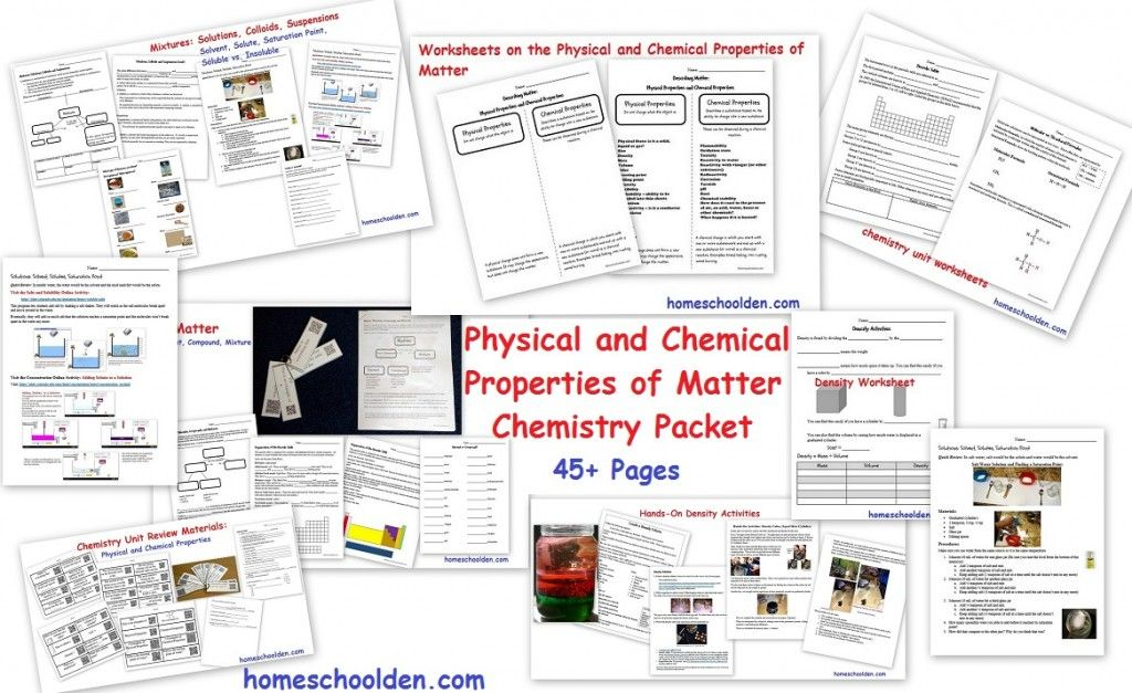 Physical And Chemical Properties Of Matter Worksheets Printable