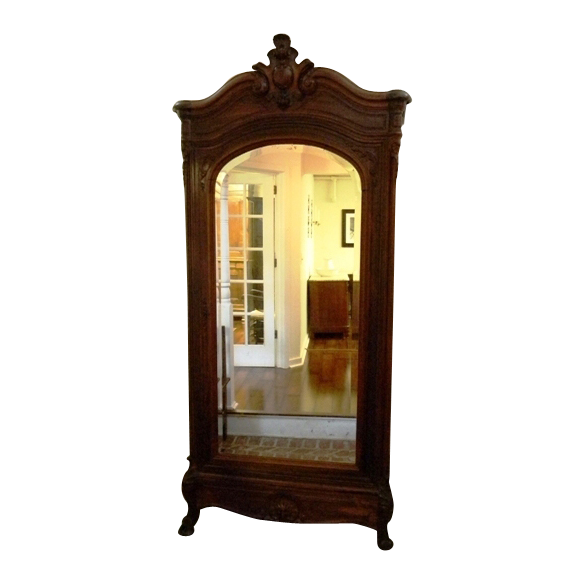 Exceptionnel Antique French Mirrored Rosewood Armoire With Birdseye Maple Interior