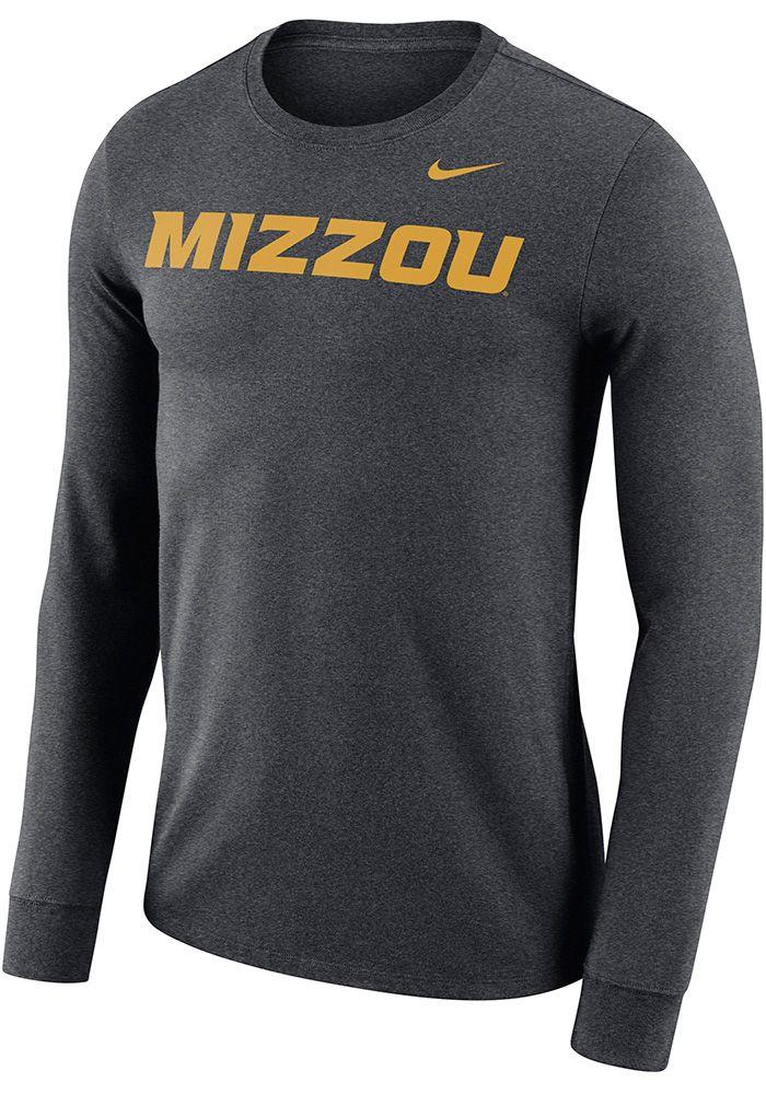 307dd5a4 Nike Missouri Tigers Grey Wordmark Long Sleeve T Shirt, Grey, 60% COTTON /  40% POLYESTER, Size L