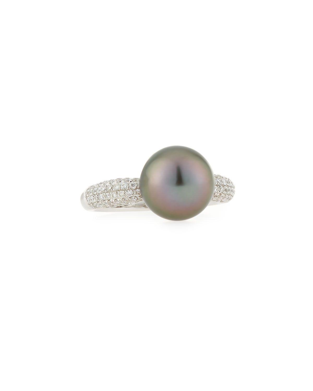 Belpearl 18k Diamond & Tahitian Pearl Ring, Size 6.75