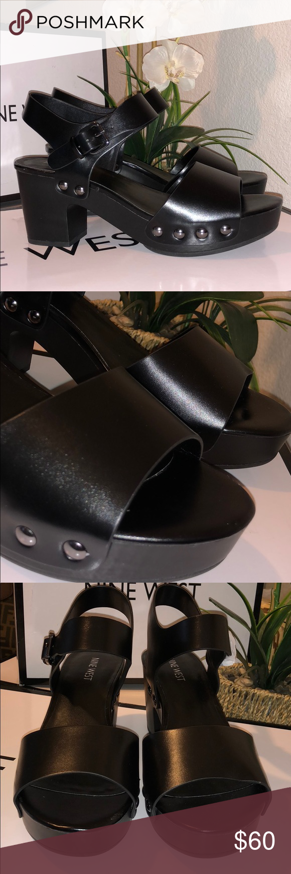 "818560d94ea Nine West ""Cecilia"" platforms Brand new with box. Cute platforms with  studded detail. 3 inch heel. Nine West Shoes Platforms"