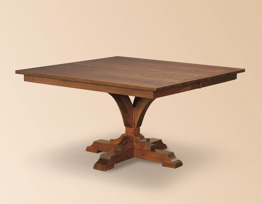 Amish Rustic Square Dining Table Pedestal Leaf Solid Wood
