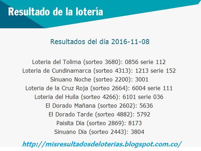 Resultado De La Lotería Resultados De Las Loterias De Colombia Hoy Noviemb Resultado Loteria Loteria Hoy Lotería