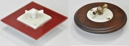 Interruttore moderno con placca quadrata Cherry e serie tonda con placca in legno.