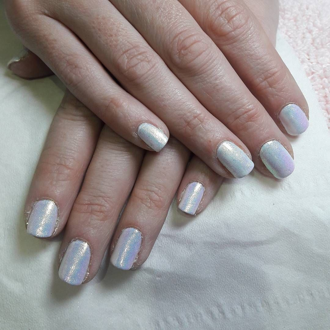 Pretty unicorn gel nails i did on my client, gelish sheek white with ...