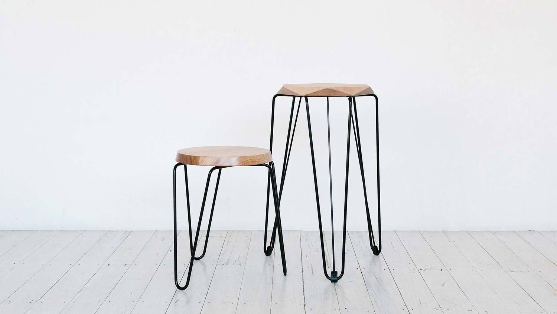 tall short stools natural timber top black steel base tuckbox