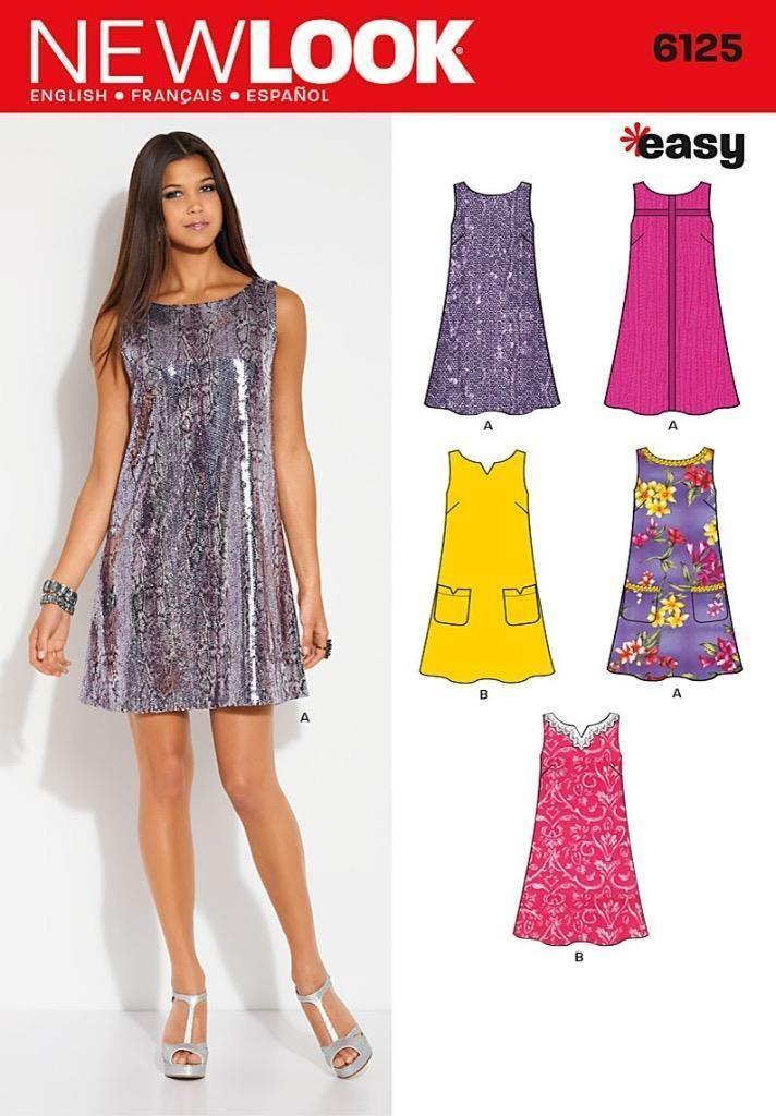 Look Sewing Pattern Misses\' Shift Dress Pocket & Trim Var Size 10 ...