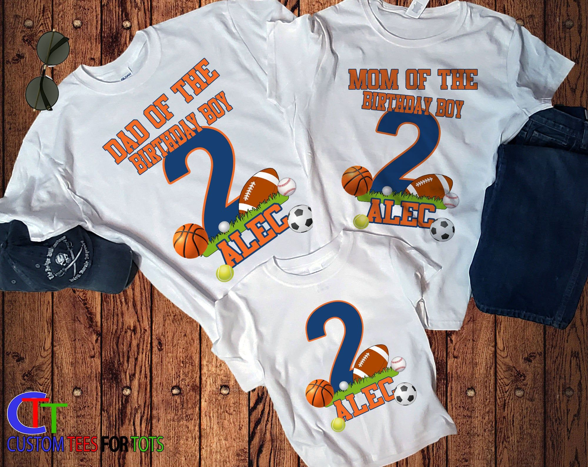 Football birthday shirt set of 2 or more football matching