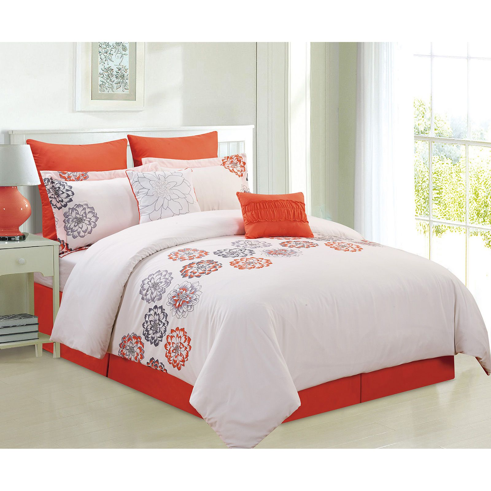 Orange and White Contemporary Floral Comforter Set Twin- 7 Piece