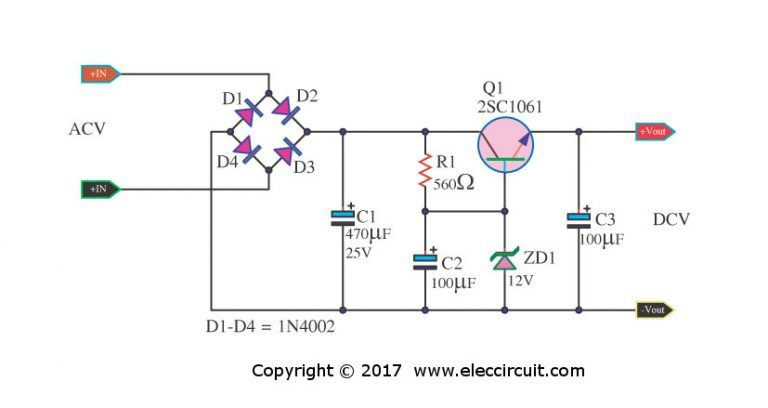 100 Power Supply Circuit Diagram With Pcb Eleccircuit Com Power Supply Circuit Electronic Circuit Projects Voltage Regulator