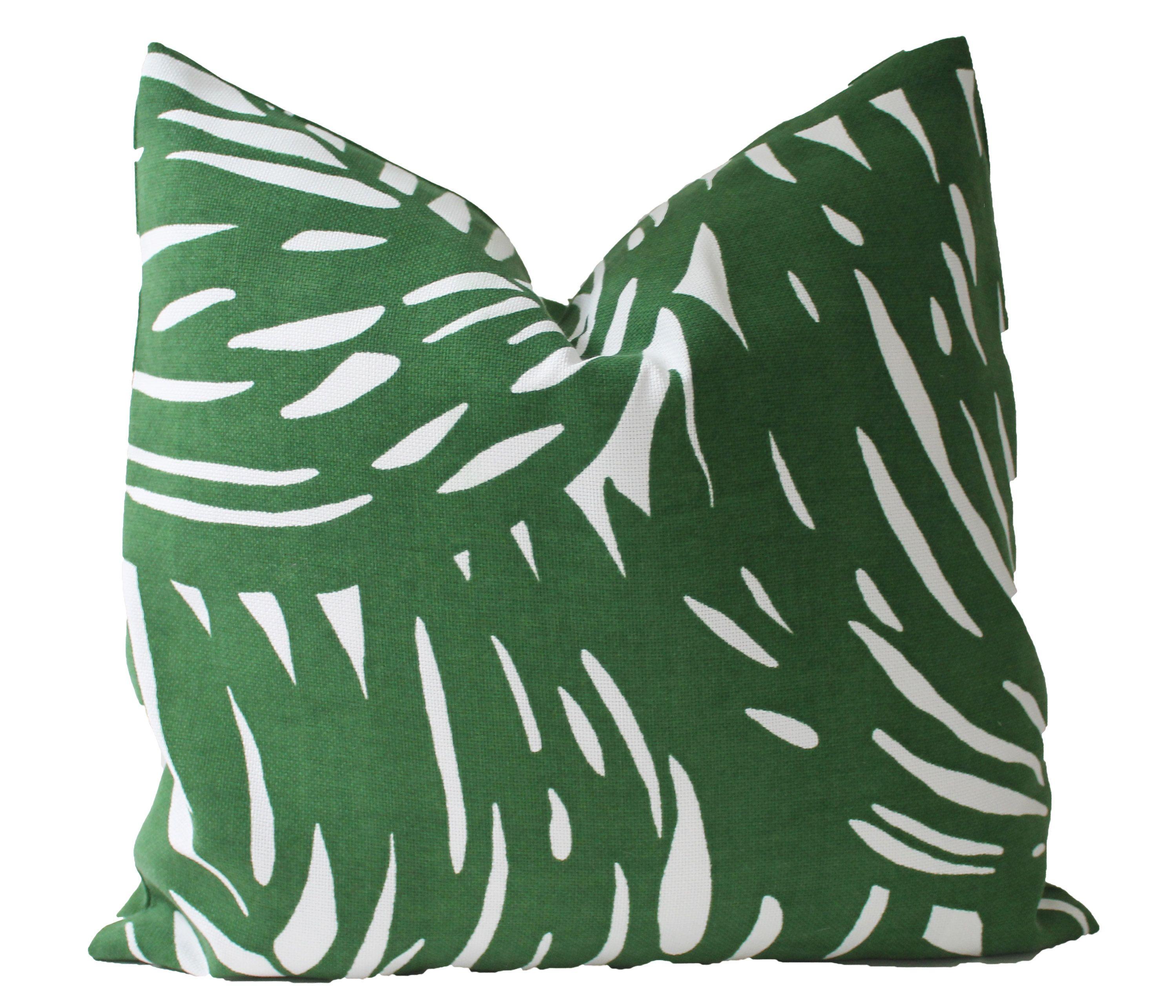 Outdoor Decorative Designer Green Tropical Palm Pillow Designer Decorative Pillows Lumbar Throw Pillow Palm Pillow
