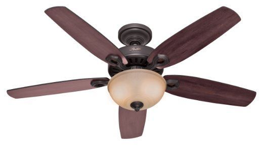 Black friday 2014 hunter 53091 builder deluxe single light ceiling fan with brazilian cherry stained oak blades and piped toffee glass light bowl