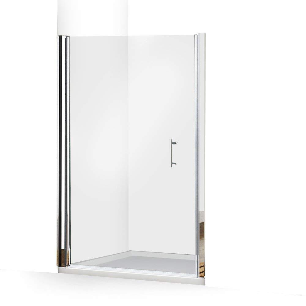 Aleko 48 In X 72 In Semi Frameless Pivot Shower Door In Chrome