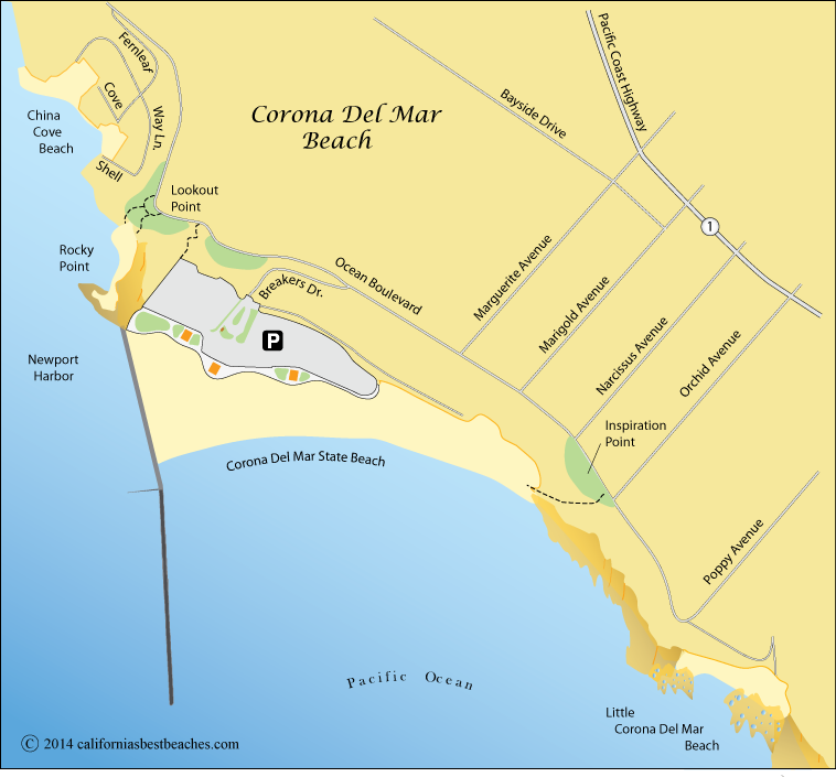 Corona Del Mar Beach Map Orange County Ca San Diego: Orange County Beaches Map At Slyspyder.com