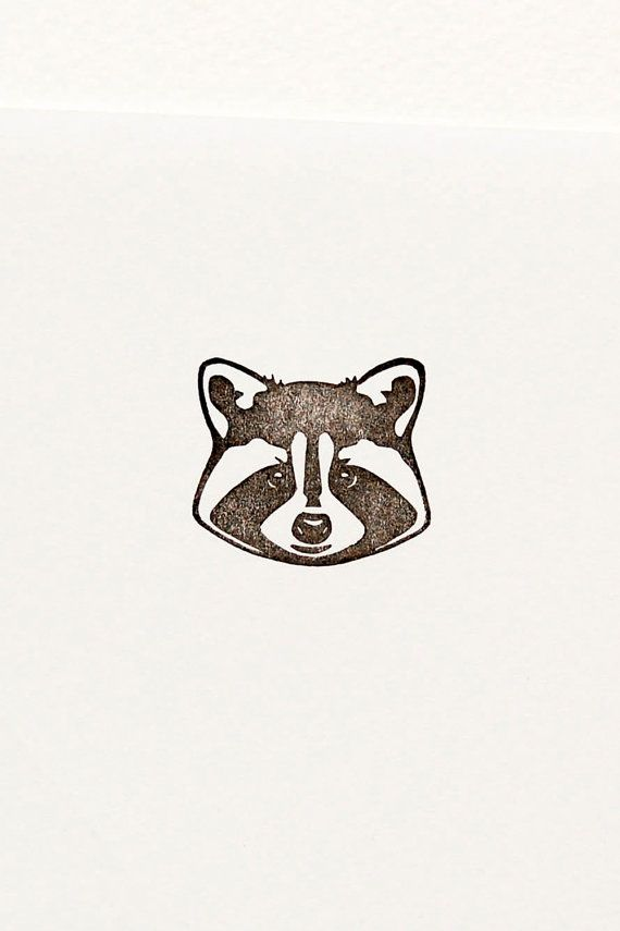 Raccoon stamp, realistic raccoon, woodland creature, raccoon gift ...