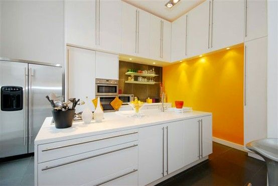White Kitchen Feature Wall modern white kitchen with yellow feature wall shootfactory