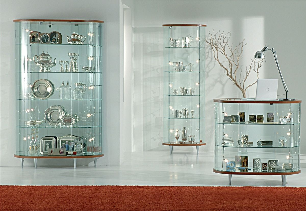 Top Line 3 Glass Display Cabinet Showcases With Wooden Structure