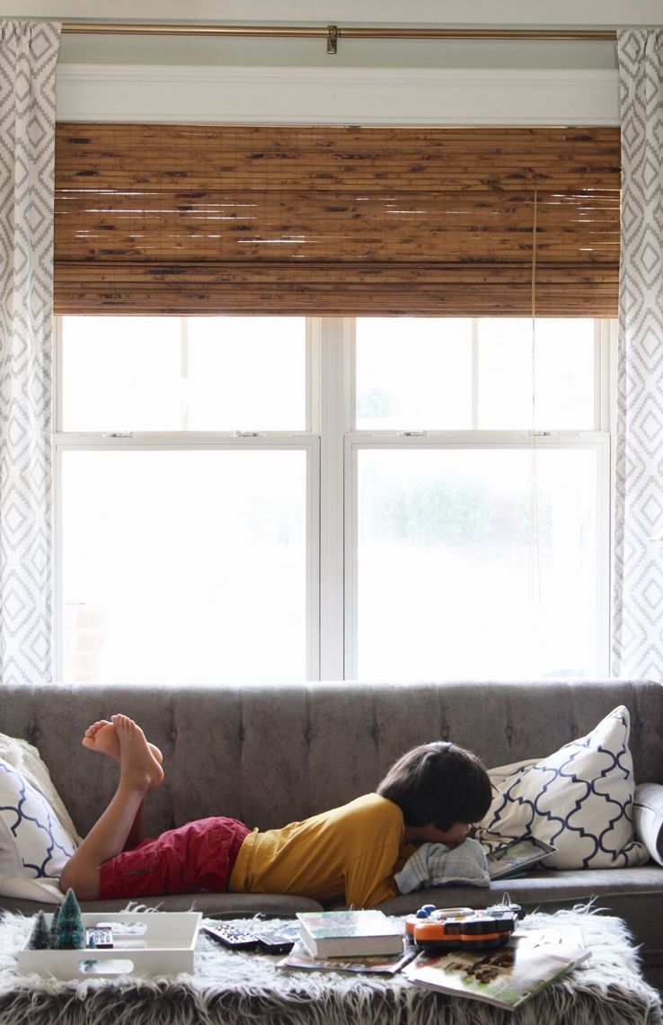 Adding Warmth And Texture With Bamboo Shades Simple Stylings Cheap Blinds Living Room Blinds House Blinds