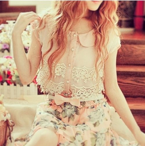 Lace Floral outfit.