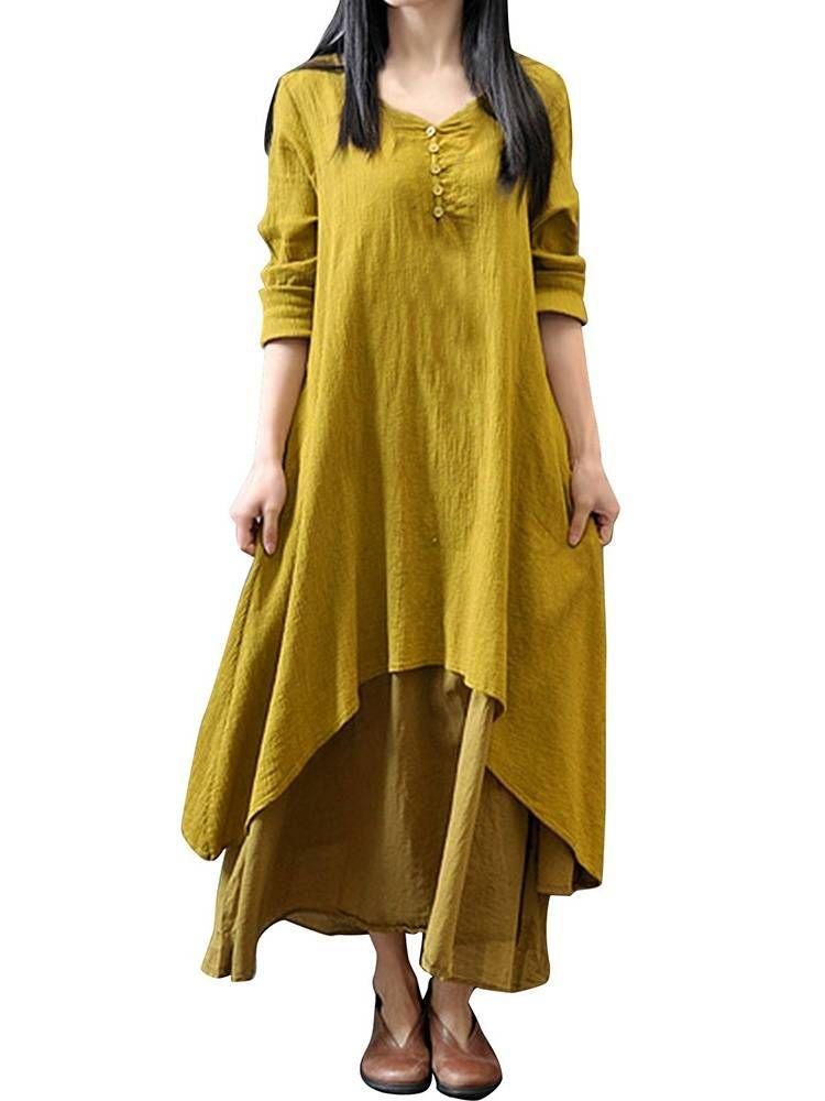 Vintage Women Solid Long Sleeve Patchwork Irregular Cotton Linen Dress at Banggood