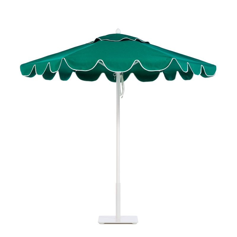 Paseo aluminum umbrella with White frame in Verde, with scalloped ...