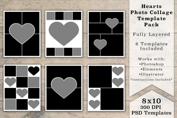 8x10 heart photo collage templates by loveurstyle designs. Black Bedroom Furniture Sets. Home Design Ideas