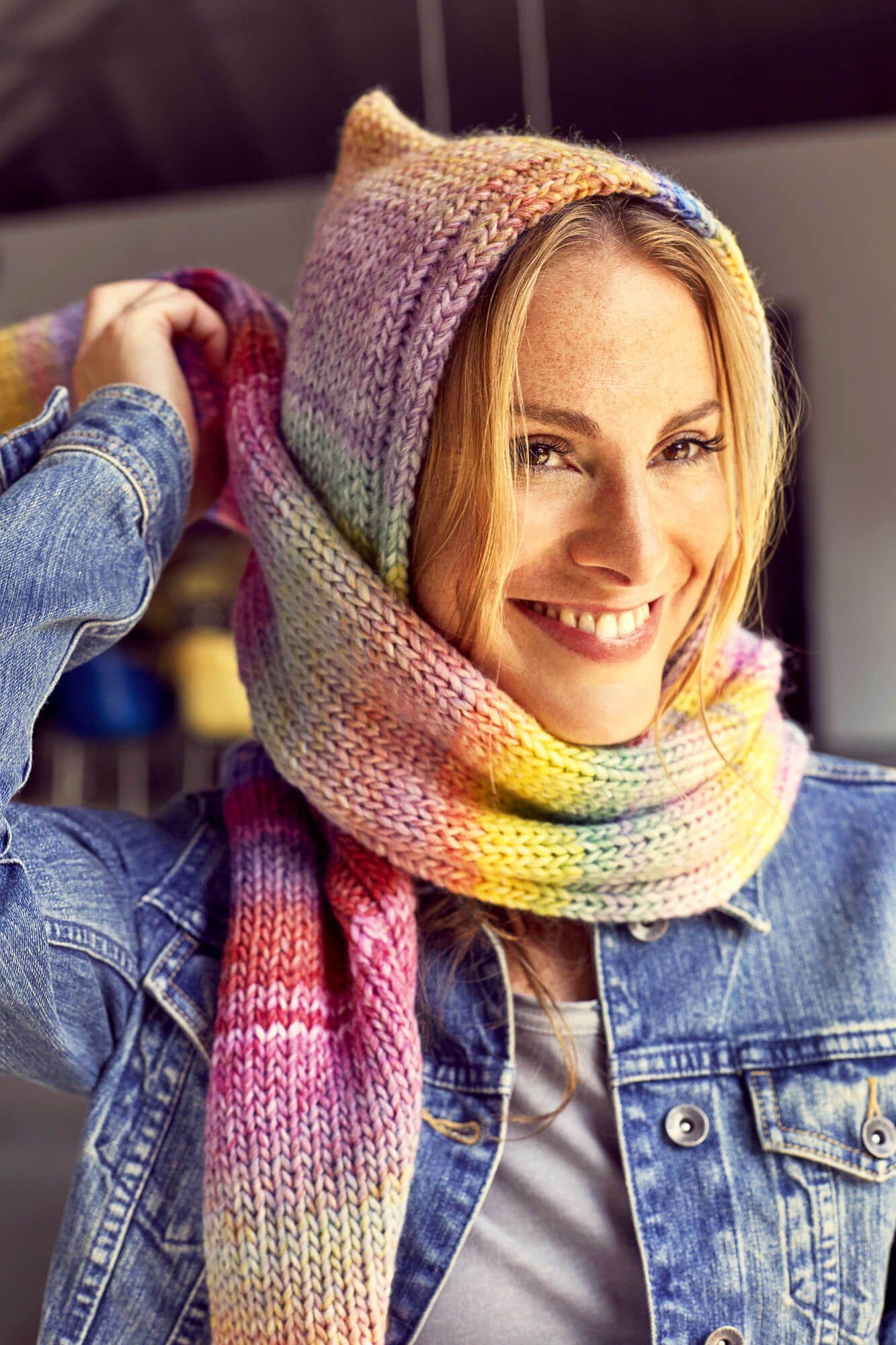 Scoodie Kapuzenschal Mit Der Addiexpress Crochet Stricken