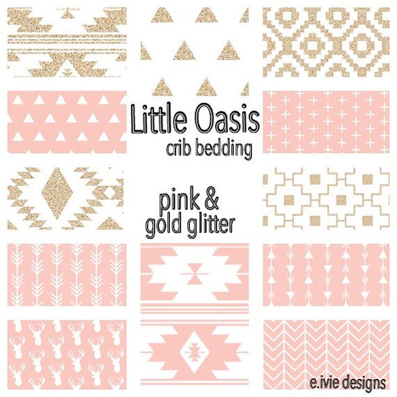 Little Oasis Tribal crib bedding set  Pink and gold glitter by E Ivie  designs  Create a nursery you love  order one item or a set. Nursery Bedding Set   Gold and Pink Dots and Arrows   Pink dot
