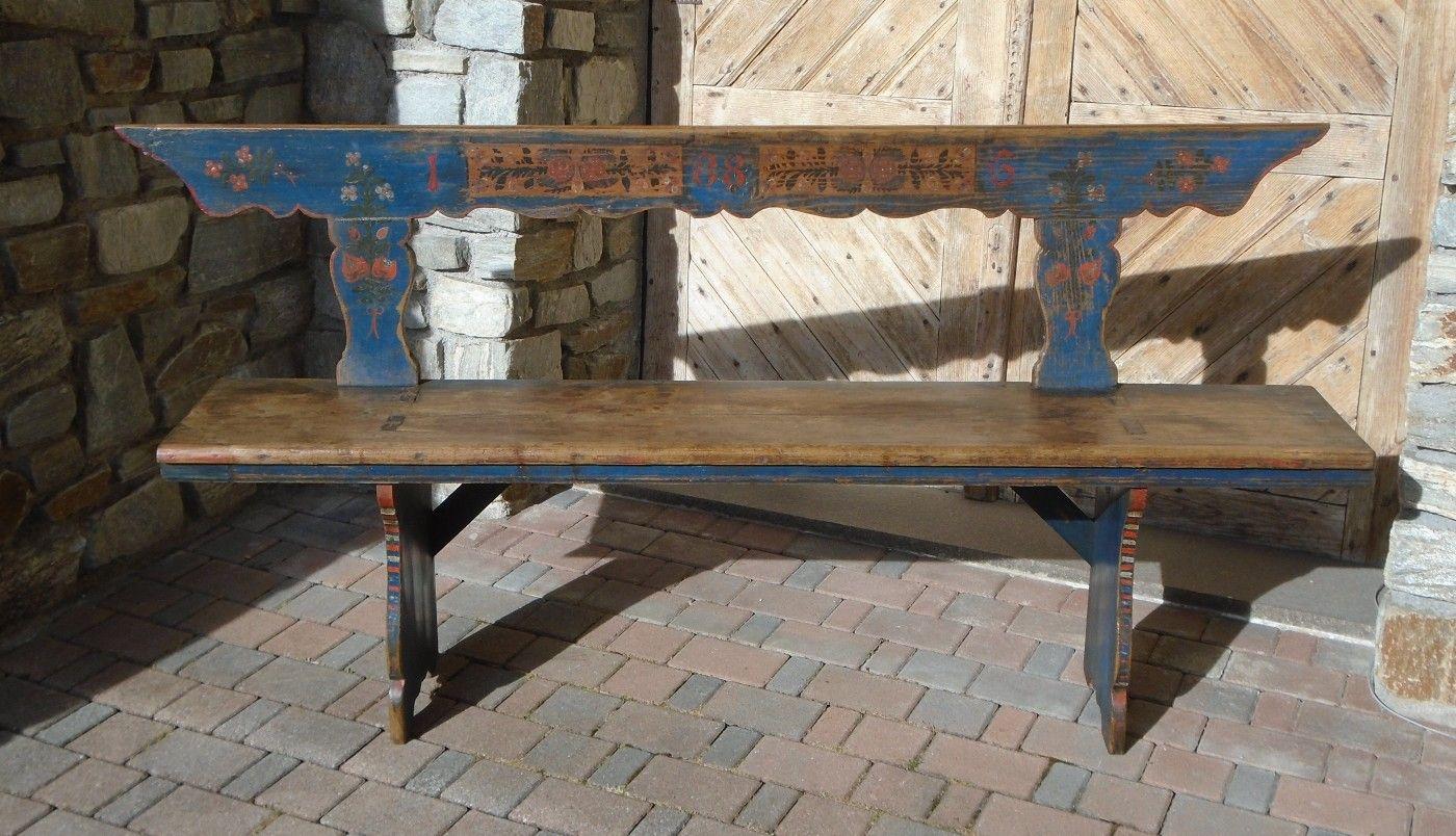 Sedie Tirolesi ~ Panca dipinta prov.austria antichità evelina vendita mobili