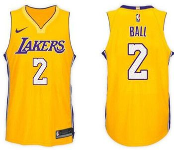 e03305c64f5d Nike Lakers  2 Lonzo Ball Yellow NikeStitched NBA Jersey