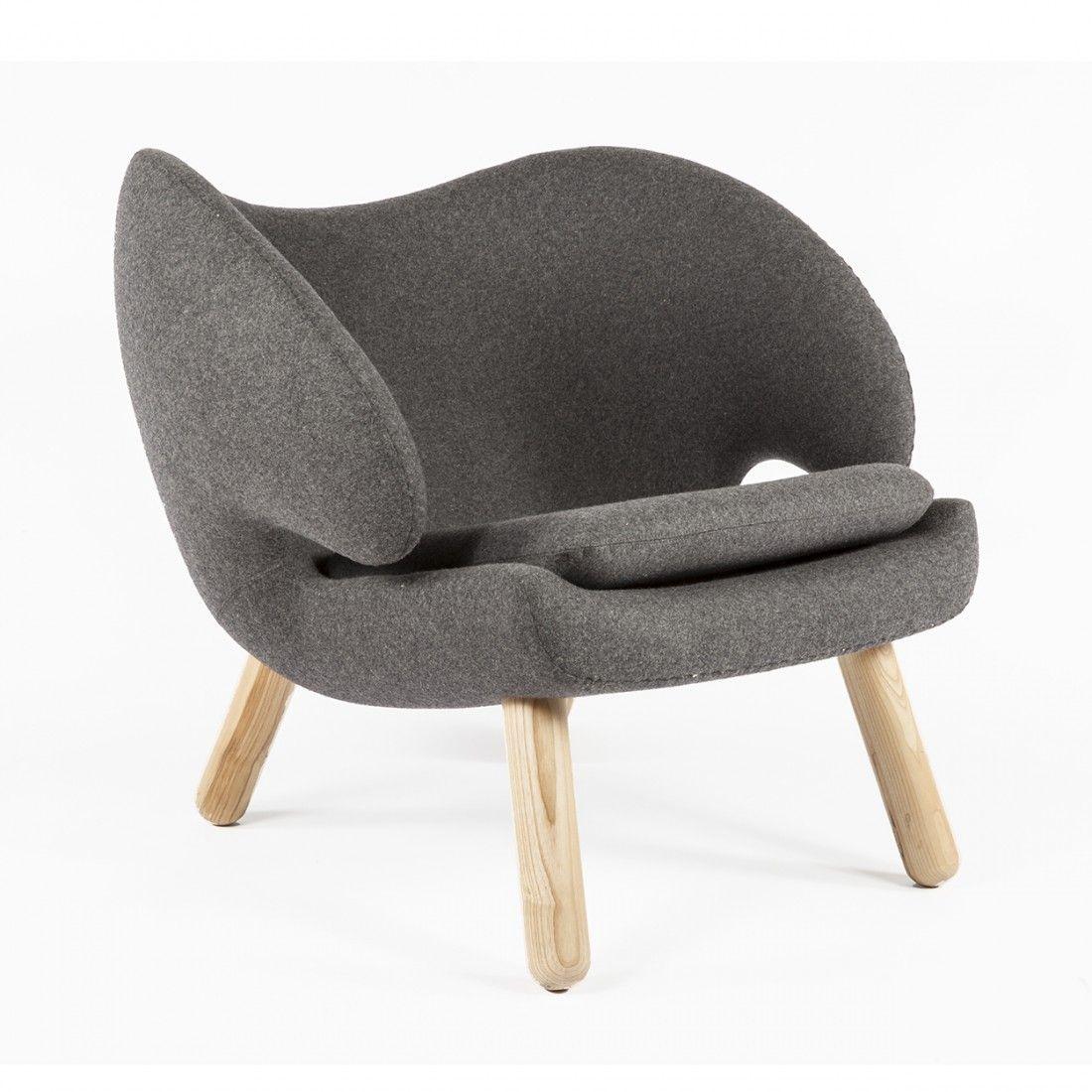 Mid Century Replica Finn Juhl Replica Pelican Lounge Chair   Charcoal Grey  Wool