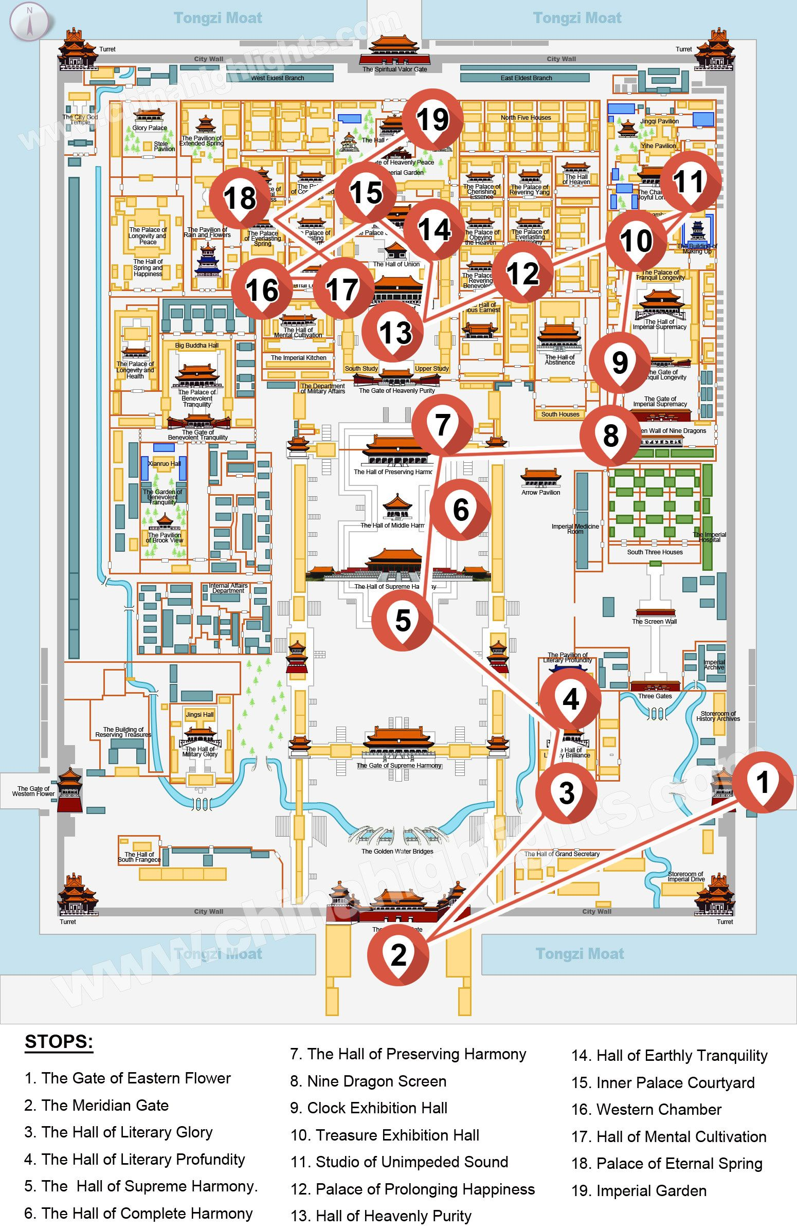 China Highlights Forbidden City Heritage Walk Tour Map China