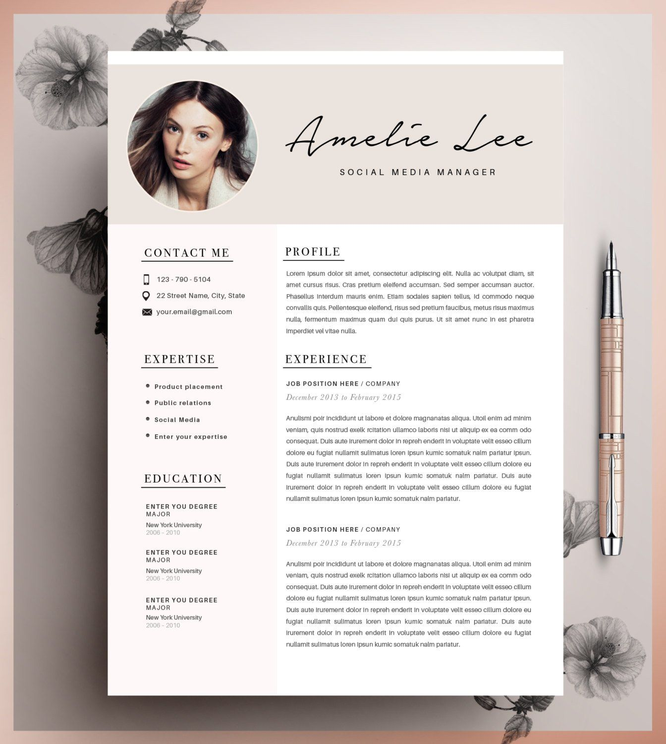 creative resume template  minimalist resume  cv design