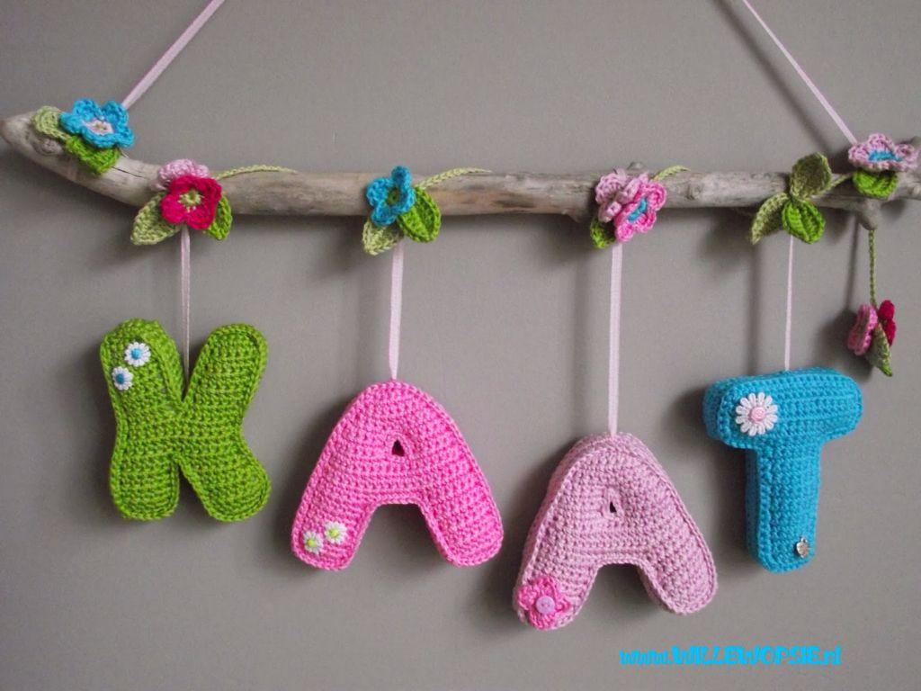 Naamslinger Babykamer Pinterest Crochet Crochet Alphabet And