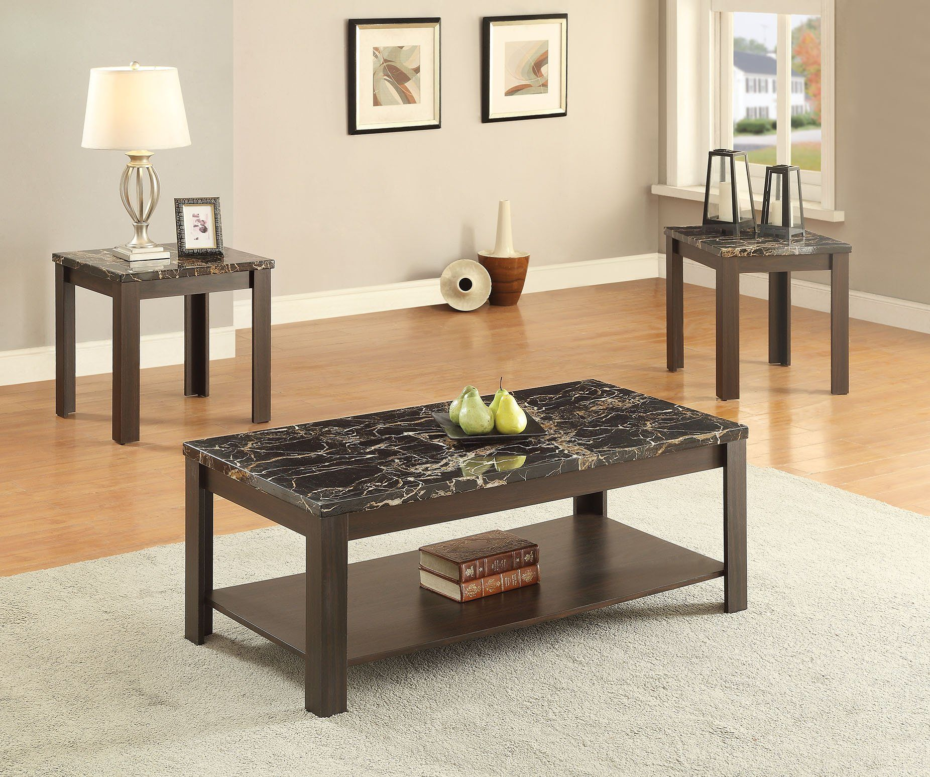 ACME Afton 3Pc Pack Coffee End Table Set Faux Marble & Walnut