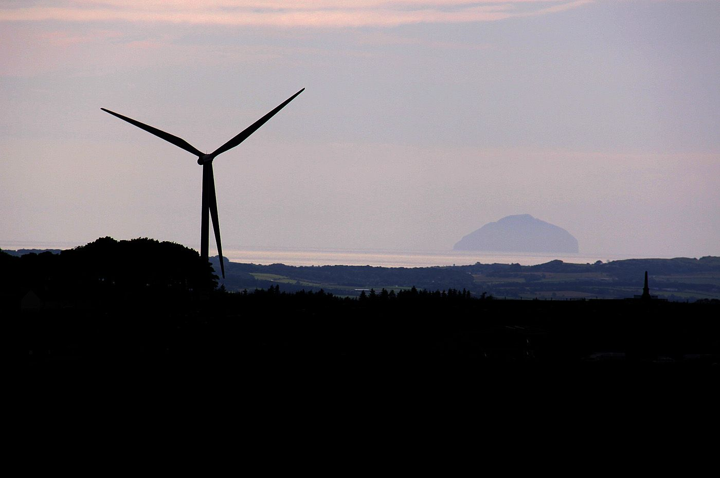 Ailsa Craig from the viewpoint at Whitelee Windfarm, Eaglesham, East Renfrewshire.